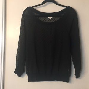 Aerie Sheer Black Polka Dot Sweatshirt Sz. M